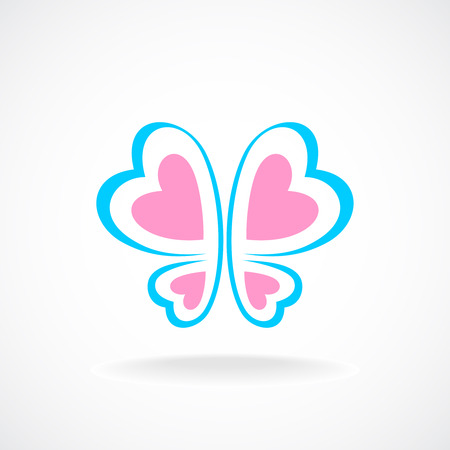 Butterfly logo template. Soft colors. Heart-shaped wings.