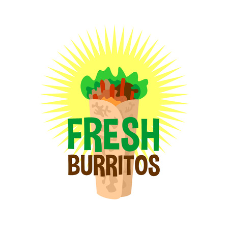 burrito: Fresh burrito logo. Snack bar signboard. Illustration