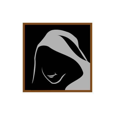 Anonimo il marchio della mascherina. Monk ombra faccia sotto il cofano. Archivio Fotografico - 41791319