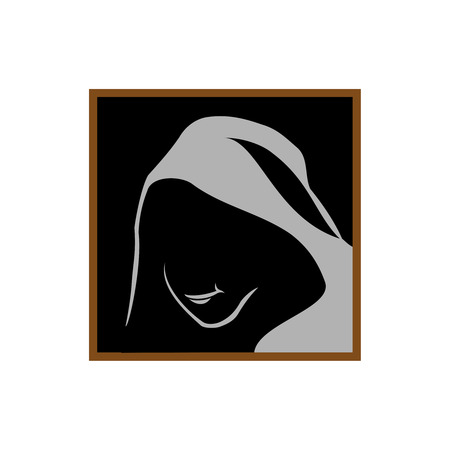 shadowed: Anonymous logo template. Monk shadowed face under the hood.