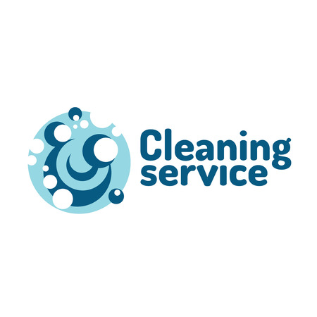 cleaning equipment: Cleaning service logo. Soap foam bubbles.