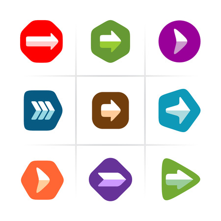 rounded: Arrow icons set. Flat color with rounded corner signs.