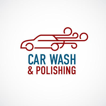 auto washing: Car wash and polishing logo template.