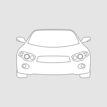 low tire: Sedan car wireframe front view. White fill in separate layer. Illustration