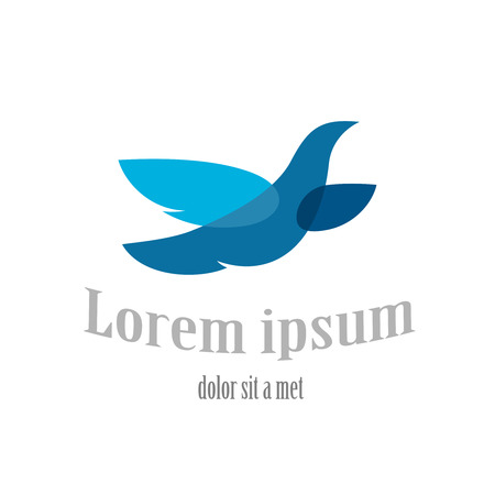 Flying bird logo template. Blue dove symbol. Transparency are flattened.