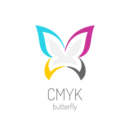 CMYK butterfly logo template