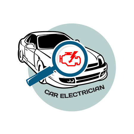 electrician with tools: Car electrician logo template Illustration