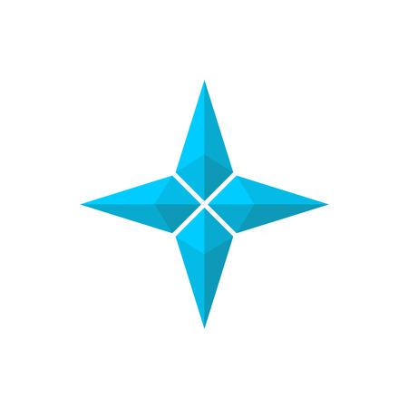 brujula: Cuatro rayos seudo estrella 3D Vectores