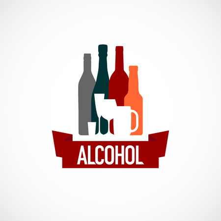 alcool: Signe de l'alcool. Différents bouteille et un verre silhouettes. Illustration