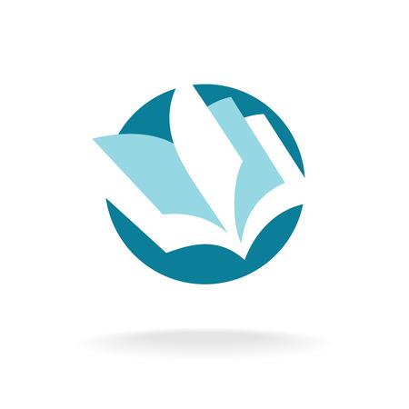 leggere libro: Pagine libro aperto logo modello Vettoriali