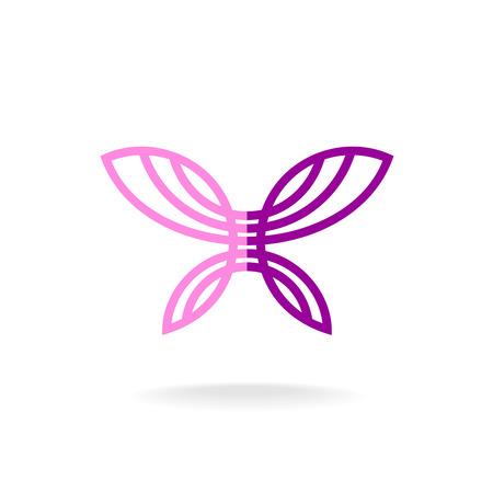 streckbilder: Fjärilslogo mall. Line art silhuett med blomfärger.