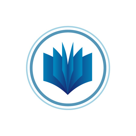 computer education: Book logo template. Blue gradient style. Illustration