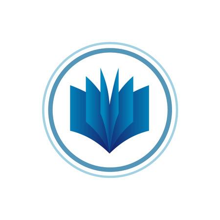 libros abiertos: Libro plantilla de logotipo. Estilo de degradado azul.