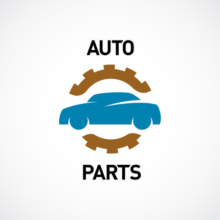 Auto parts logo template. Car silhouette with gear sign. Vettoriali