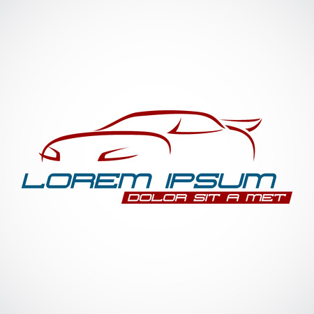 red and blue: Car silhouette logo Illustration