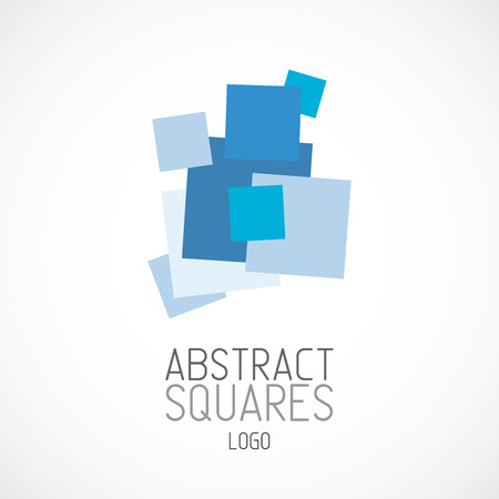 Abstract random blue squares logo template