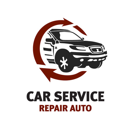 mecanico automotriz: Servicio de coche insignia de la plantilla. Automotriz concepto temático reparación.