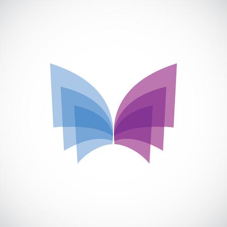marca libros: Alas de mariposa logo plantilla. Los colores suaves. La transparencia se aplana. Vectores