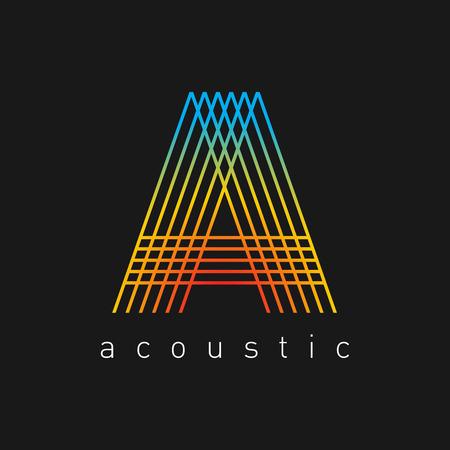 arquitecto: Letra A plantilla de logotipo. Cuerdas tema musical.