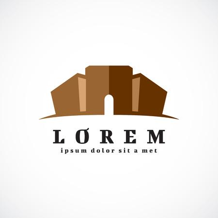 Antique building logo template. Castle or prison silhouette.