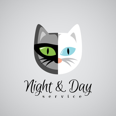 funny cat: Cat face logo template. Dark gray and white color cats. Day and night 24 hours service concept.