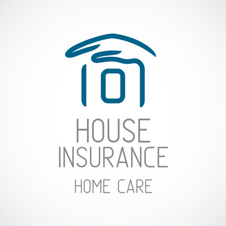 home ownership: Insurance logo template. Human hand covering house silhouette.
