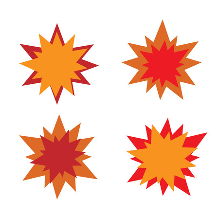 star icons: Burst star icons. Red and orange. Illustration