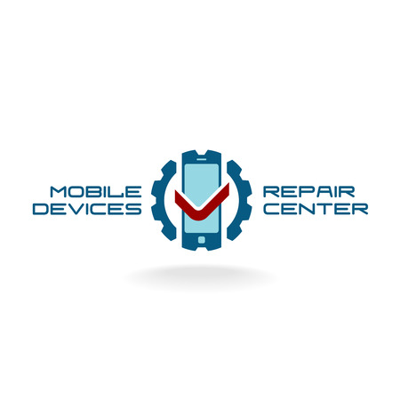 broken screen: Mobile devices repair service logo template