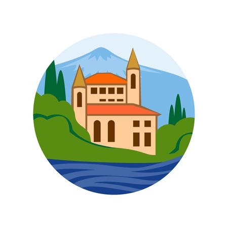 family moving house: Sea villa illustration. Real estate company logo concept. Illustration