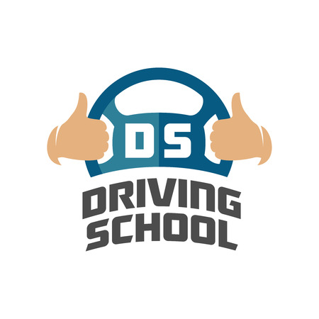 Driving school logo template. Steering whell with thumbs up hands. Vettoriali