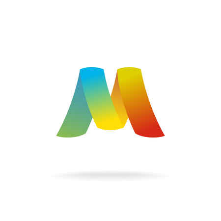 m: M letter logo template. Colorful elegant ribbons.