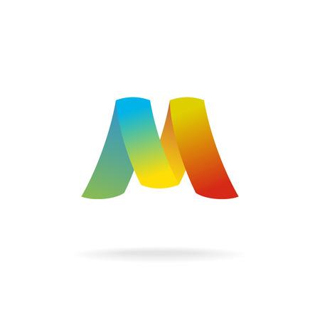 letter logo: M letter logo template. Colorful elegant ribbons.