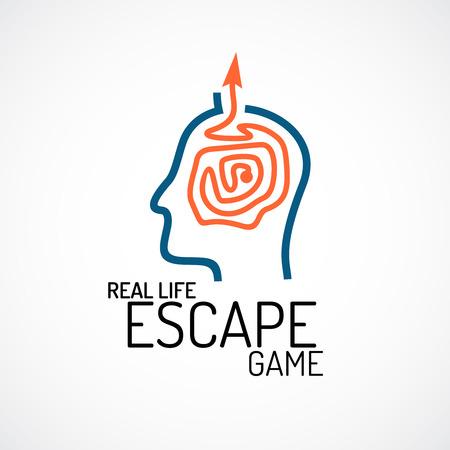 laberinto: La vida real de escape juego de búsqueda de logotipo de la plantilla Vectores