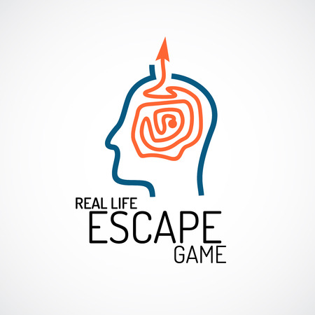 Real life escape quest game logo template