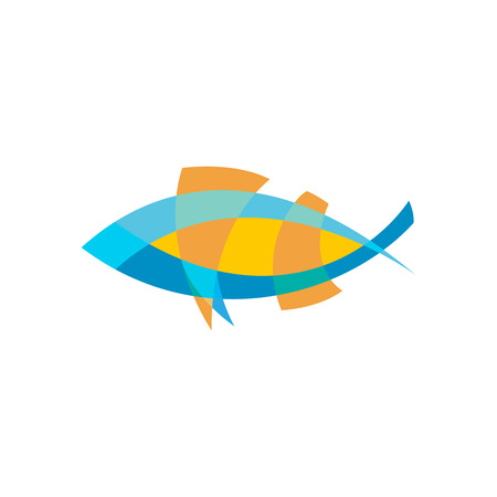 Fish logo template. Color lines with flattened transparency.