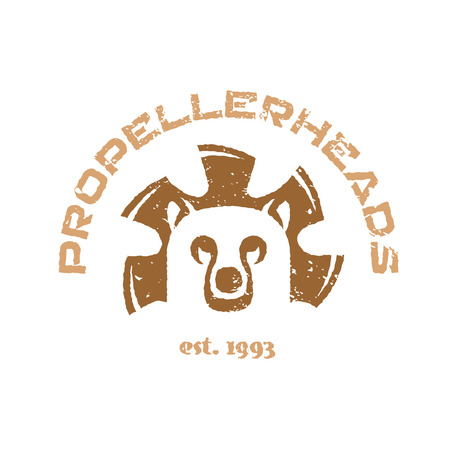 animal head: Bear t-shirt illustration. Animal head logo with fan blades.