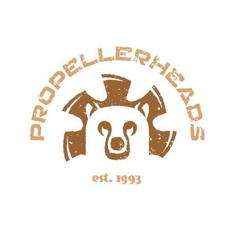 cabe�a de animal: Urso ilustra��o t-shirt. Logotipo animal cabe�a com as p�s do ventilador.