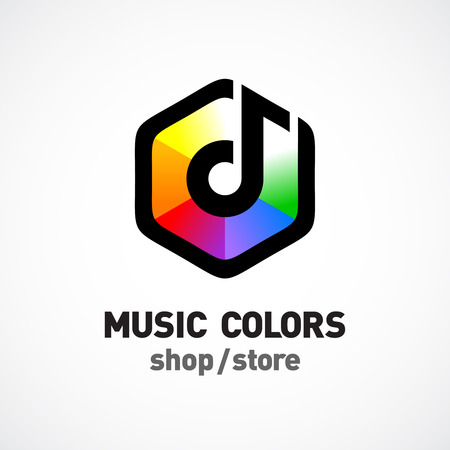 music: Music colors logo template. Colorful hex sign.