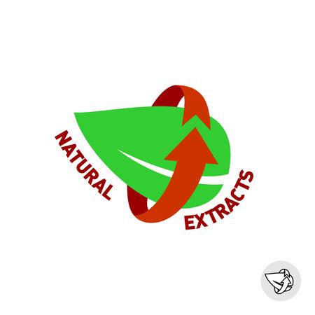 saludable logo: Los extractos naturales de hoja verde signo de eco insignia.