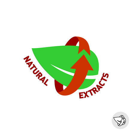 extract: Natural extracts green leaf eco sign badge.