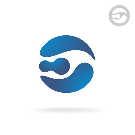 globe logo: E letter globe logo template. Robot head.