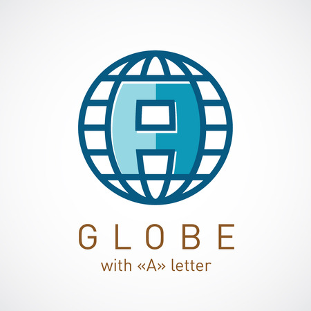 Globe net with A letter inside sign. Corporate logo template.