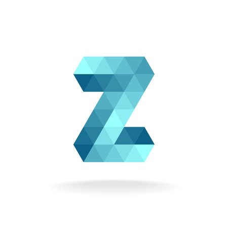 turquiose: Z letter logo template. Technical triangles style.