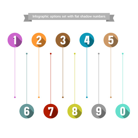 callout: Infographic options set with flat shadow numbers Illustration