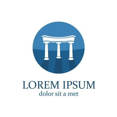 derecho romano: Abogado plantilla de logotipo. Elementos de la configuración con columnas.