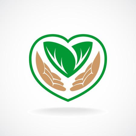preocupacion: Insignia del cuidado de la naturaleza. Crecido con el signo de amor. Vectores