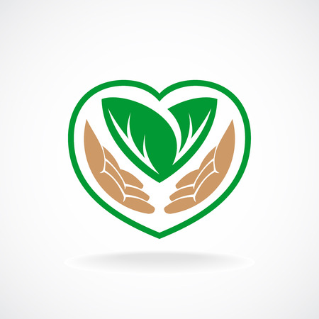 recycle logo: Nature care logo. Grown with love sign.