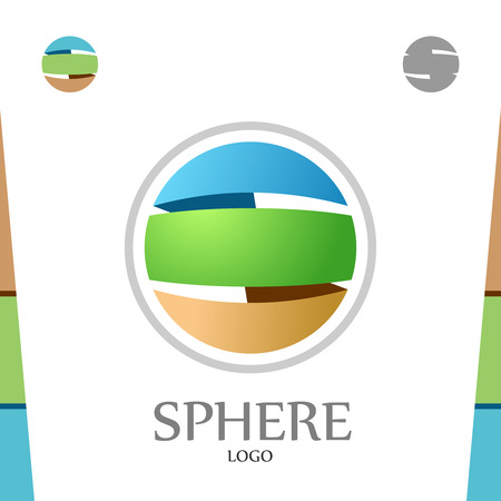 soil: S letter logo template. Abstract sphere. Globe with colors of soil, nature and sky.