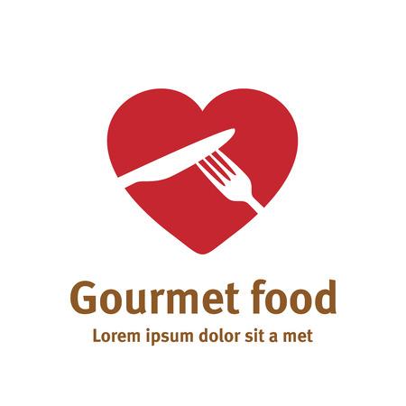 forme: Beau modèle de logo de la nourriture. Fourchette et couteau silhouettes de forme de fond de coeur.