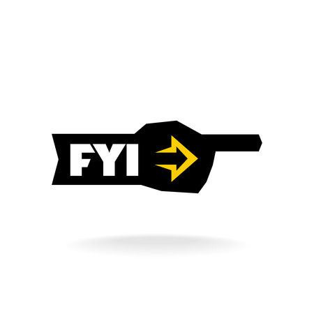 news update: FYI sign. Information pointer logo. Illustration